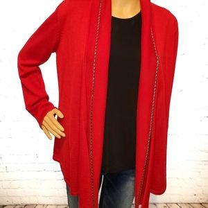 Calvin Klein holiday red wool cardigan